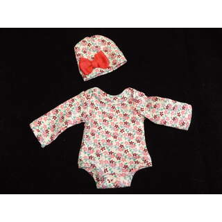 """11""""- 12"""" Long Sleeved Floral Knit Onesie w/ Hat"""
