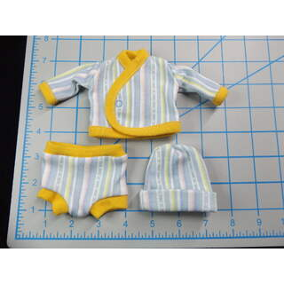 Bright Yellow Trim w/Pastel Stripes
