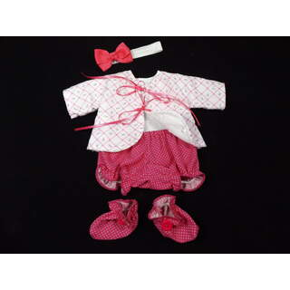 """13"""" - 14"""" Hot Pink Rosebud Outfit, Booties and Headband"""