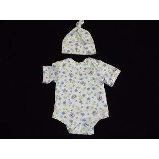 """15"""" - 16"""" Short Sleeved Knit Onesie with Hat Butterfly"""
