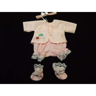"""13"""" - 14"""" Pink Gingham Outfit, Booties and Headband"""
