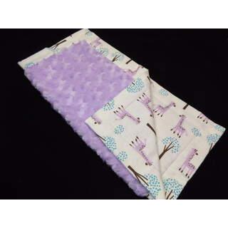 """17""""x17"""" Lavender Giraffe Minky Flannel Blanket"""