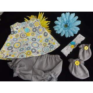 "15"" - 17"" Summer Dress Set Gray Yellow Floral"
